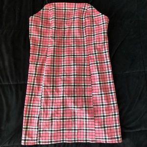 URBAN OUTFITTERS Pink Plaid mini dress